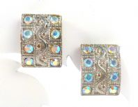 Vintage Square Aurora Borealis Wiggle Clip On Earrings
